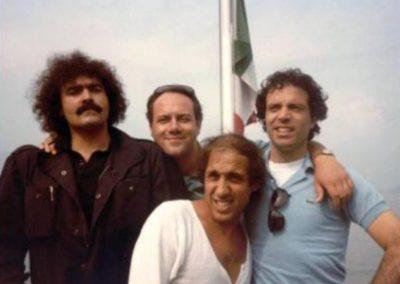 Grand Hotel Excelsior (1982). Insieme a Diego Abatantuono, Adriano Celentano e Carlo Verdone durante le riprese.