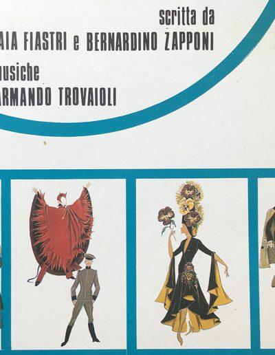Se il tempo fosse un gambero (1986). Bozzetti dei costumi di Se il tempo fosse un gambero realizzati da Folco. Da sinistra: Santa Pupa, Max diavolo e Max chauffeur,  nobildonna al ballo del principe, principe Poniatowski.