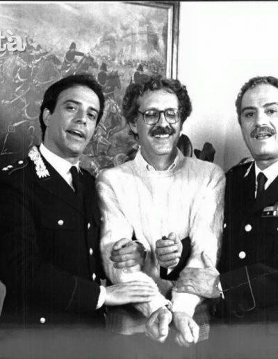 Il tenete dei carabinieri(1986). Insieme a Nino Manfredi e il regista Maurizio Ponzi durante le riprese.