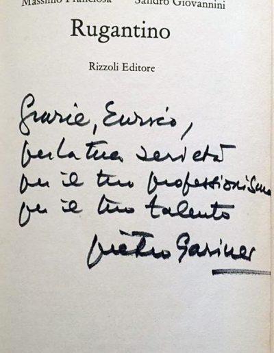 Il romanzo Rugantino tratto dall'omonima commedia musicale con dedica di Pietro Garinei.