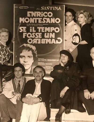 Se il tempo fosse un gambero (1986). La compagnia. Da sinistra: Marzia Falcon, Isa Di Marzio, Marcello Di Matteo, Gino Pernice, Rosanna Ruffini, Luigi Palchetti, Nancy Brilli.